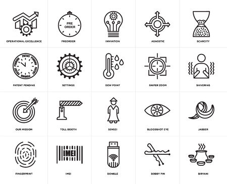 Set Of 20 icons such as biryani, bobby pin, dongle, imei, fingerprint, scarcity, sniper zoom, sensei, our mission, settings, innvation, web UI editable icon pack, pixel perfect Ilustração