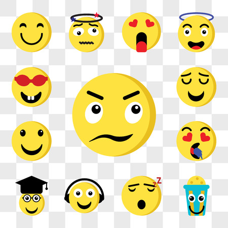 Set Of 13 transparent editable icons such as Angry, Popcorn, Sleeping, Music, Graduated, In love, Happy, Smile, Nerd, web ui icon pack, transparency set