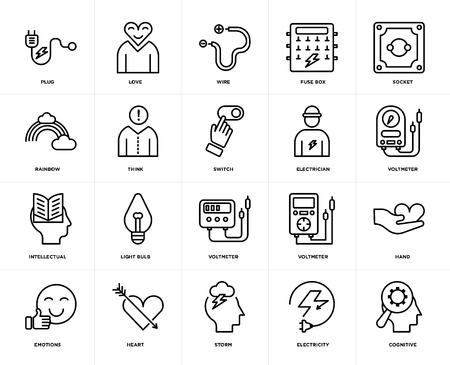 Set van 20 iconen zoals cognitieve, elektriciteit, storm, hart, emoties, socket, elektricien, voltmeter, intellectueel, denk, draad, web UI bewerkbare icon pack, pixel perfect Vector Illustratie