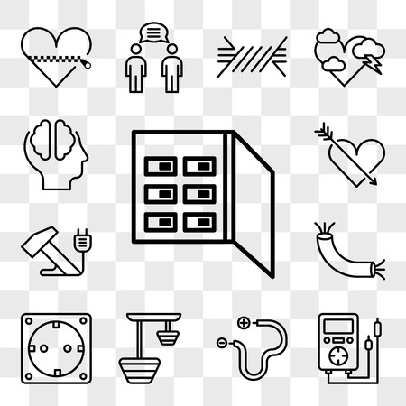 Set Of 13 transparent editable icons such as Fuse box, Voltmeter, Wire, Lamp, Socket, Hammer, Heart, Cloud, web ui icon pack, transparency set
