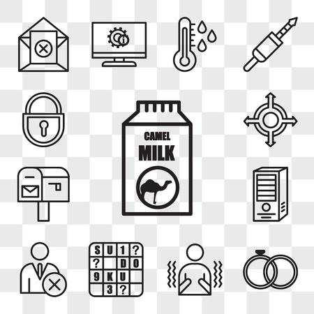 Set van 13 transparante bewerkbare pictogrammen zoals kamelenmelk, burgerlijke staat, rillen, sudoku, niet volgen, webserver, po box, agnosticus, lockout tagout, web ui icon pack, transparantieset