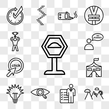 Set Of 13 transparent icons such as speed bump, hill station, roles and responsibilities, our vision, lumen, military base, click me, no worries, web ui editable icon pack, transparency set