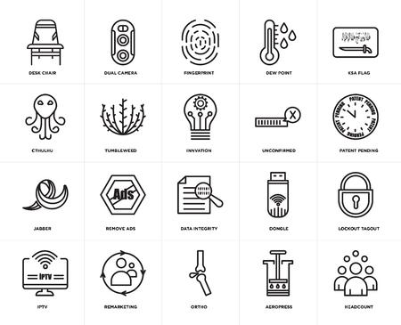 Set Of 20 icons such as headcount, aeropress, ortho, remarketing, iptv, ksa flag, unconfirmed, data integrity, jabber, tumbleweed, fingerprint, web UI editable icon pack, pixel perfect