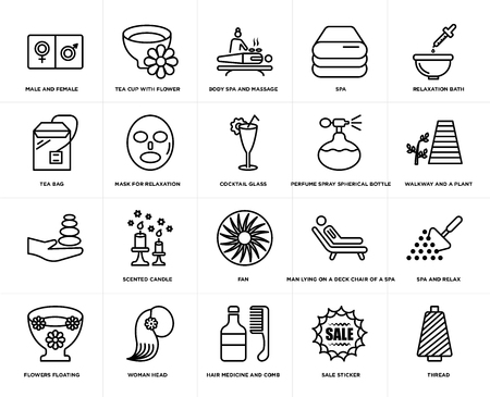 Set Of 20 simple editable icons such as tea cup with flower, Sale sticker, Relaxation bath, Woman head, Flowers floating, Spa and relax, Mask for relaxation, web UI icon pack, pixel perfect