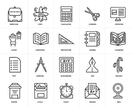Conjunto de 20 iconos como campana, grados, reloj, tiza, café, computadora, agenda, pizarra, prueba, tarea, calculadora, paquete de iconos editables de la interfaz de usuario web, pixel perfecto