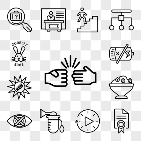 Set Of 13 transparent editable icons such as rock paper scissors, mandate, downtime, breast pump, discreet, hummus, new, dead battery, cruelty free, web ui icon pack, transparency set Stock Illustratie