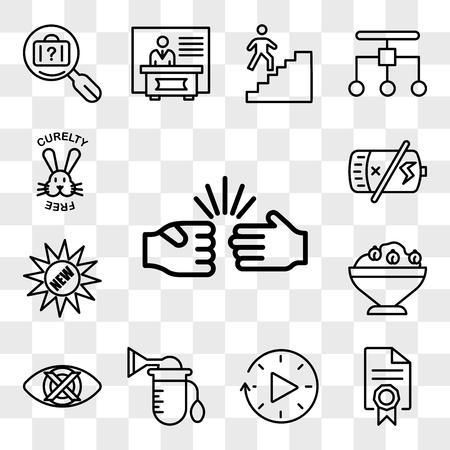 Conjunto de 13 iconos editables transparentes como piedra, papel, tijeras, mandato, tiempo de inactividad, bomba, discreto, hummus, batería nueva, muerta, libre de crueldad, paquete de iconos de interfaz de usuario web, conjunto de transparencia