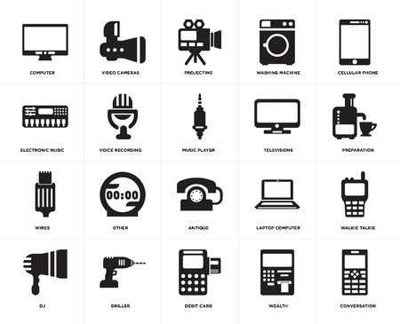 Set Of 20 icons such as Conversation, Wealth, Debit card, Driller, DJ, Cellular phone, Televisions, Antique, Wires, Voice recording, Projecting, web UI editable icon pack, pixel perfect