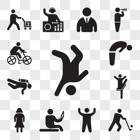Set Of 13 transparent icons such as Breakdancer, Golfer, Arm up, Sitting on the floor and reading, Woman with dress, Ballerina pose, Diver, Backbend, web ui editable icon pack, transparency set