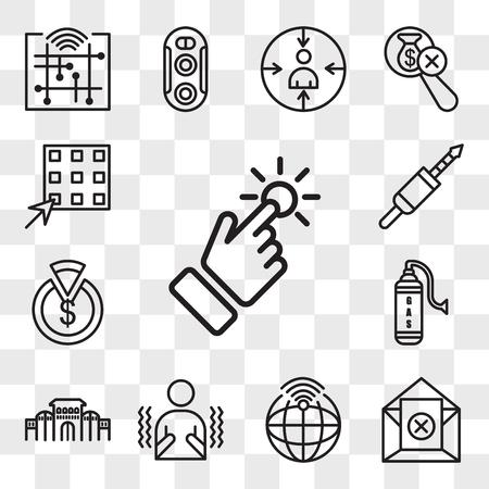 Set van 13 transparante bewerkbare pictogrammen zoals touchpoint, uitschrijven, telemetrie, rillen, shaniwar wada, gaz, capex, 3,5 mm jack, wafel, web ui icon pack, transparant set Vector Illustratie