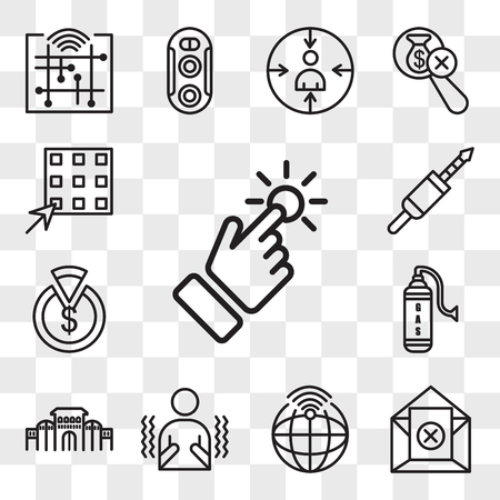 Set Of 13 transparent editable icons such as touchpoint, unsubscribe, telemetry, shivering, shaniwar wada, gaz, capex, 3.5 mm jack, waffle, web ui icon pack, transparency set