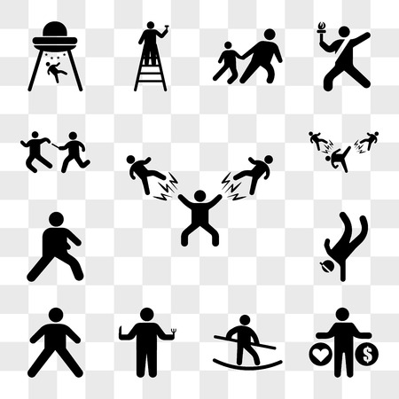 Set Of 13 transparent icons such as Man Beating two fighters, love and money, Tightrope Walker, Person hunger, Stretching Pose, Breakdancing, Warming, web ui editable icon pack, transparency set