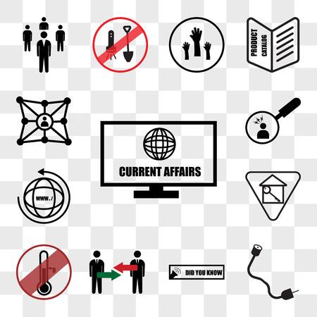Conjunto de 13 iconos transparentes como asuntos de actualidad, coaxial, ¿sabía usted, conflicto de intereses, anticongelante, sitio web, puntos de dolor, paquete de iconos editables de interfaz de usuario web, conjunto de transparencia Ilustración de vector