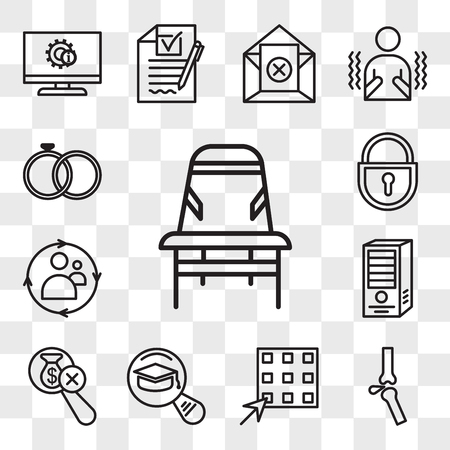 Set Of 13 transparent editable icons such as Desk chair, ortho, waffle, most read, no hidden fees, webserver, remarketing, lockout tagout, marital status, web ui icon pack, transparency set