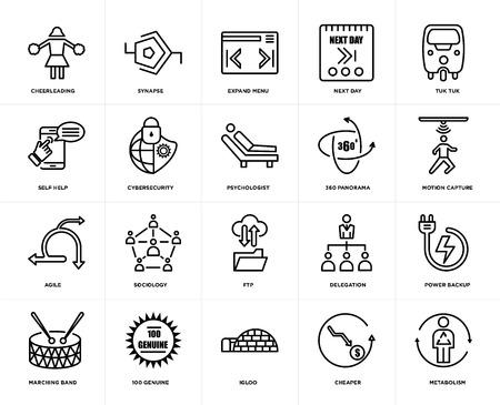 Ensemble de 20 icônes telles que métabolisme, moins cher, igloo, 100 authentiques, fanfare, tuk tuk, panorama 360, ftp, agile, cybersécurité, développer le menu, pack d'icônes modifiables de l'interface utilisateur Web, pixel parfait