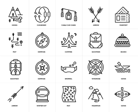 Set Of 20 icons such as Kayak, Mountain, Mat, Winter hat, Arrow, Passport, Backpack, Snorkel, Compass, Cable car cabin, web UI editable icon pack, pixel perfect