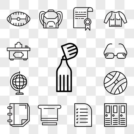 Set Of 13 transparent editable icons such as Marker, Lockers, Test, Blackboard eraser, Notebook, Basketball, Earth globe, Glasses, Teacher desk, web ui icon pack, transparency set