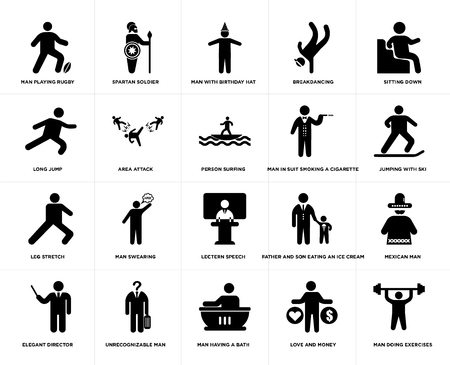 Set Of 20 simple editable icons such as Spartan soldier, love and money, Sitting Down, Unrecognizable man, Elegant director, Mexican Area attack, web UI icon pack, pixel perfect