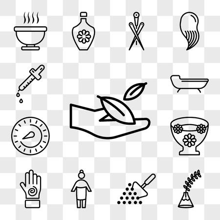 Conjunto de 13 iconos transparentes como mano y hoja, planta de helecho en jarrón, spa relax, humano con toalla, una espiral, flores flotantes, termostato, paquete de iconos editables de interfaz de usuario web, conjunto de transparencia