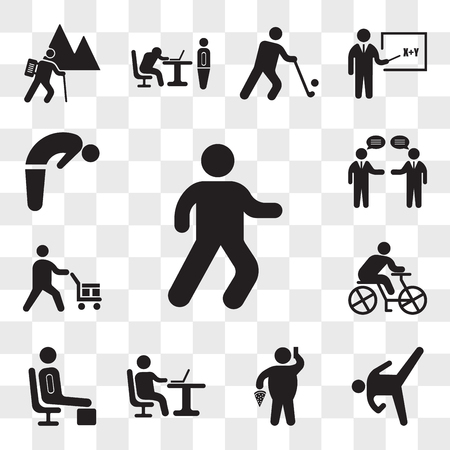 Set Of 13 transparent icons such as Man walking, Karate High Kick, Fat With Pizza and Telephone, Working with laptop, Resting, Cyclist, web ui editable icon pack, transparency