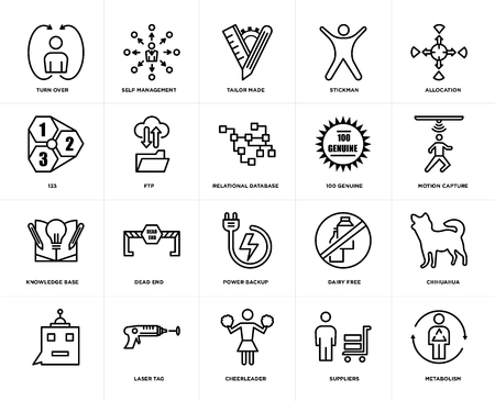 Set Of 20 icons such as metabolism, suppliers, cheerleader, laser tag, , allocation, 100 genuine, power backup, knowledge base, ftp, tailor made, web UI editable icon pack, pixel perfect