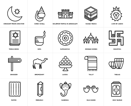 Set Of 20 simple editable icons such as Holy Quran, Swastica, Lion of Judah, Kaaba Mecca, Matzo, Conch shell, Tallit, Torah Book, web UI icon pack, pixel perfect Illustration