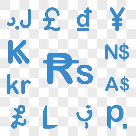 Set van 13 transparante pictogrammen zoals Nepal-valuta, Wit-Rusland, Afghanistan, Honduras, Falklandeilanden, valuta web ui bewerkbaar pictogrampakket, transparantie Vector Illustratie