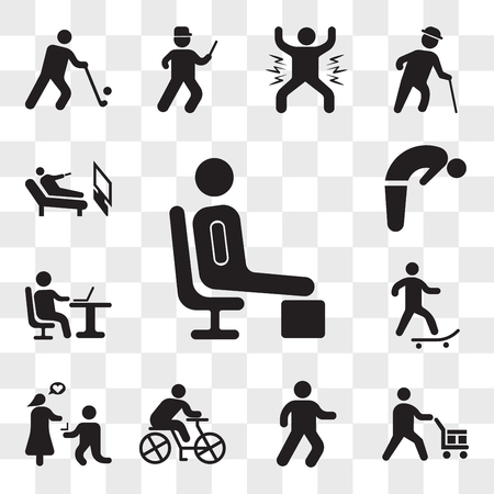 Set Of 13 transparent icons such as Resting, Worker loading boxes, Man walking, Cyclist, Marry me, Skater, Working with laptop, Backbend, web ui editable icon pack, transparency set