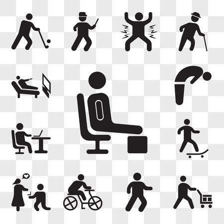 Zestaw 13 przezroczystych ikon, takich jak Odpoczynek, Worker loading box, Man walking, Rowerzysta, Wyjdź za mnie, Skater, Praca z laptopem, Backbend, pakiet ikon do edycji interfejsu internetowego, zestaw przezroczystości