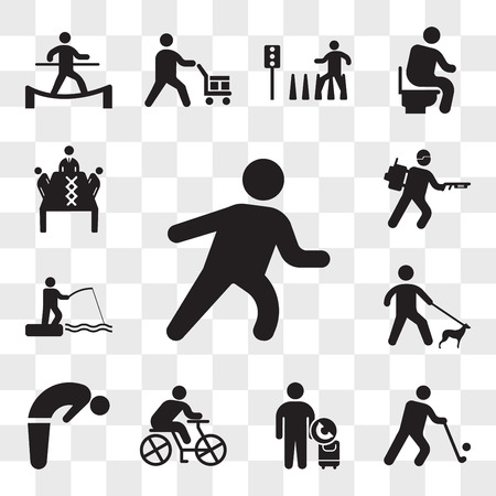 Set Of 13 transparent icons such as Runner, Golfer, Call taxi, Cyclist, Backbend, Walking with dog, Fishing rod and fisher, Army soldier walking, web ui editable icon pack, transparency set