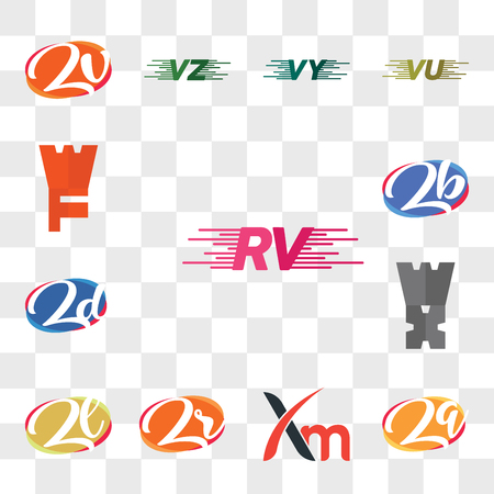 Set Of 13 transparent editable icons such as RV, Zq or qZ, Xm, Zr rZ, Zl lZ, Zj, zd dz, zb bz, WF, web ui icon pack, transparency set
