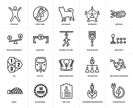 Set Of 20 simple editable icons such as power backup, gear shift, zeppelin, sociology, igloo, dairy free, delegation, price comparison, web UI icon pack, pixel perfect