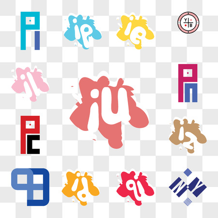 Set Of 13 transparent editable icons such as iu or ui, NY YN, iq qi, id di, QB BQ, iz zi, PC CP, PM MP, il li, web ui icon pack, transparency set