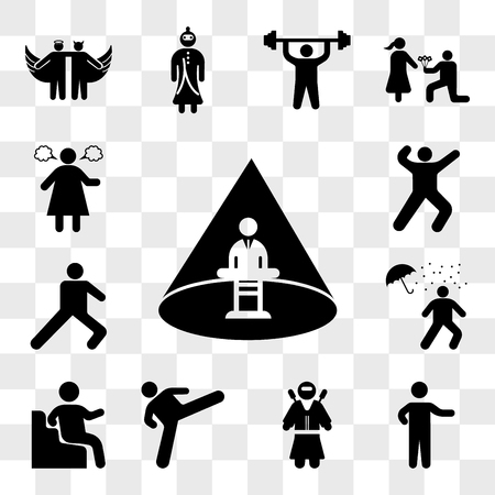 Set Of 13 transparent icons such as Abducted Man, Person pointing, Ninja warrior, Judo fighter, Sitting Down, Man under rain loosing umbrella, Leg stretch, web ui editable icon pack, transparency set Illustration