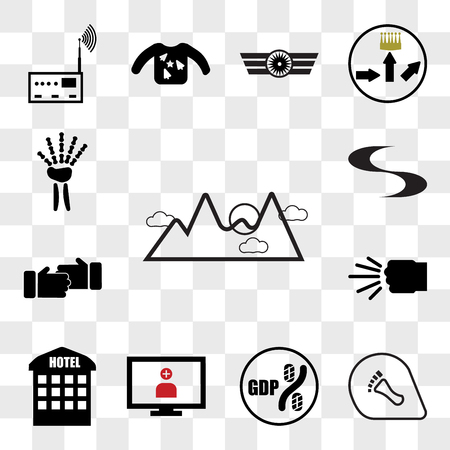 Set Of 13 transparent editable icons such as pinnacle, podiatry, gdp, telemedicine, accomodation, fist bump, sponsorship, swish, radiologist, web ui icon pack, transparency set