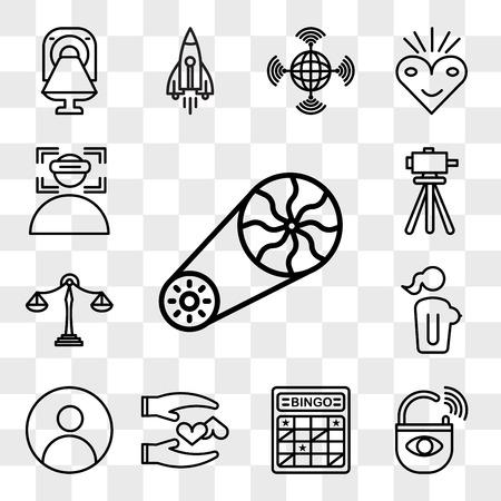 Set Of 13 transparent editable icons such as flywheel, anti theft, bingo card, loyal, profile pic, naked lady, benchmarking, surveyor, immersion, web ui icon pack, transparency set Illustration