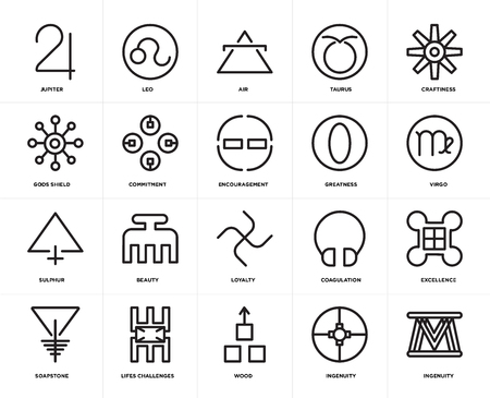 Set Of 20 icons such as Ingenuity, Wood, Lifes challenges, Soapstone, Craftiness, Greatness, Loyalty, Sulphur, Commitment, Air, web UI editable icon pack, pixel perfect