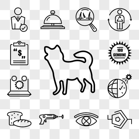 Set Of 13 transparent icons such as chihuahua, synapse, censorship, laser tag, bakery, daylight savings, marketing automation, 100 genuine, web ui editable icon pack, transparency set