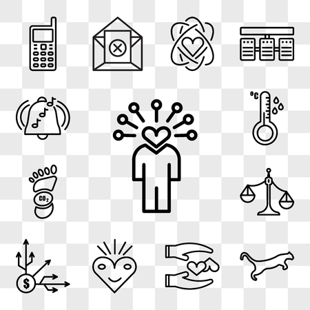 Set Of 13 transparent icons such as soft skills, cougar, loyal, bliss, diversification, unbalanced scale, carbon footprint, temperature sensor, web ui editable icon pack, transparency set