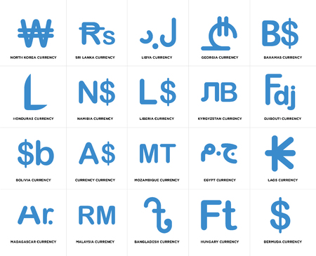 Set Of 20 simple editable icons such as Djibouti currency, Bangladesh Malaysia Honduras Liberia web UI icon pack, pixel perfect