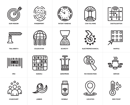Set Of 20 simple editable icons such as dew point, waffle, digitalisation, can you mine, headcount, fingerprint, no hidden fees, toll booth, web UI icon pack, pixel perfect