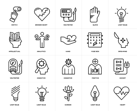 Set Of 20 icons such as Heart, Light bulb, Garden, Fuse box, Cognitive, Voltmeter, Analytics, web UI editable icon pack, pixel perfect