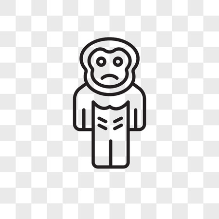 Gorilla vector icon isolated on transparent background, Gorilla logo concept