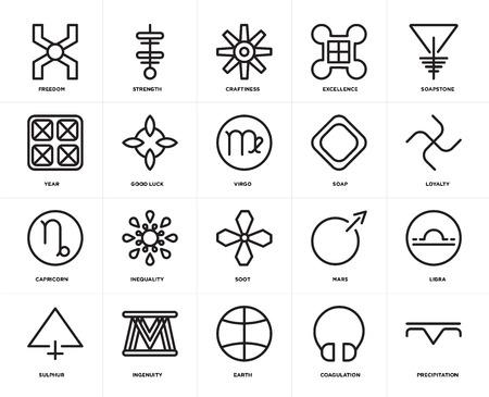 Set Of 20 icons such as Precipitation, Coagulation, Earth, Ingenuity, Sulphur, Soapstone, Soap, Soot, Capricorn, Good luck, Craftiness, web UI editable icon pack, pixel perfect Ilustração