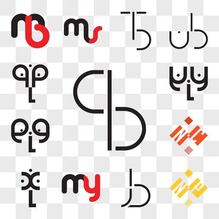 Conjunto de 13 iconos editables transparentes como BC, CB, NP o PN, BJ, JB, my ym, xL, NC CN, eLe, aLa, qLq, paquete de iconos web ui, conjunto de transparencia Ilustración de vector