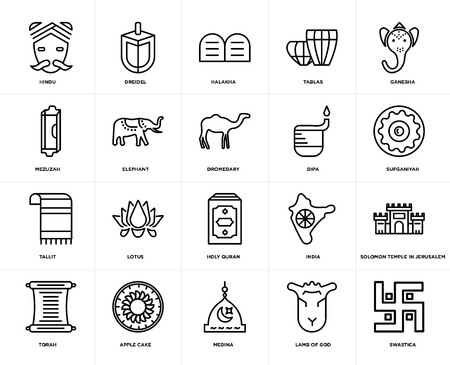 Set Of 20 icons such as Swastica, Lamb of God, Medina, Apple Cake, Torah, Ganesha, Dipa, Holy Quran, Tallit, Elephant, Halakha, web UI editable icon pack, pixel perfect Vectores