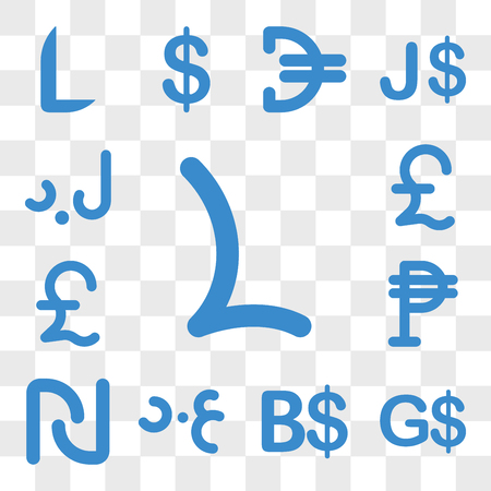Set Of 13 transparent icons such as Lesotho currency, Guyana Bahamas Iraq Israel Mexico Lebanon web ui editable icon pack, transparency set