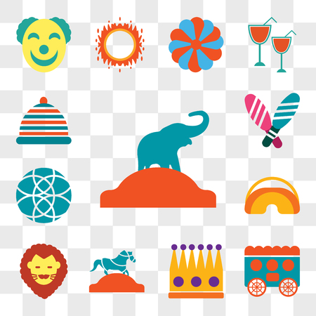 Set Of 13 transparent editable icons such as Elephant, Wagon, Crown, Horse, Lion, Eye mask, Ball, Juggling, Hat, web ui icon pack, transparency set