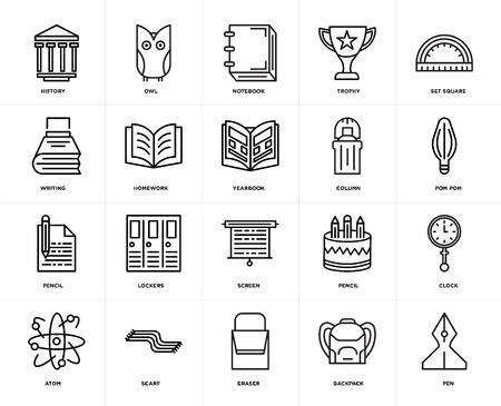 Set Of 20 icons such as Pen, Backpack, Eraser, Scarf, Atom, square, Column, Screen, Pencil, Homework, Notebook, web UI editable icon pack, pixel perfect