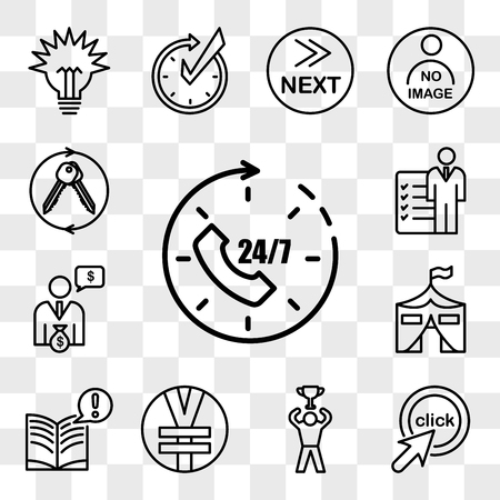 Set Of 13 transparent editable icons such as 24x7, click me, achive, rmb, interesting facts, military base, cfo, roles and responsibilities, turnkey, web ui icon pack, transparency set